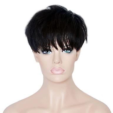 Menschliches Haar Capless Perücken Echthaar Glatt Pixie-Schnitt / Mit Pony Glueless Kurz Maschinell gefertigt Perücke Damen / Gerade