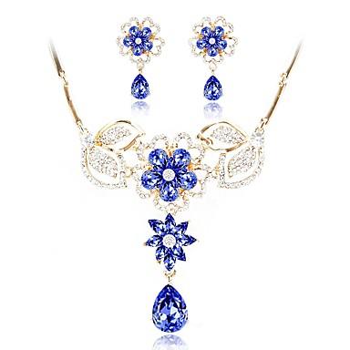 בגדי ריקוד נשים שני גוונים סט תכשיטים - יהלום מדומה אופנתי לִכלוֹל שרשרת כחול עבור חתונה ארוסים