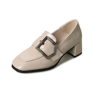 בגדי ריקוד נשים נעליים PU אביב נוחות עקבים עקב עבה בוהן מרובעת שחור / בז' / חום