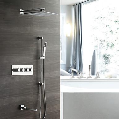 קיר עכשווי מותקן גשם מקלחת handshower כלל תרמוסטטי קרמיקה שסתום ארבעה מטפל חמישה חורים כרום, ברז מקלחת