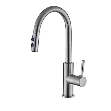Contemporary Pull-out/­Pull-down Centerset Pullout Spray Ceramic Valve Single Handle One Hole Nickel Brushed, Kitchen faucet