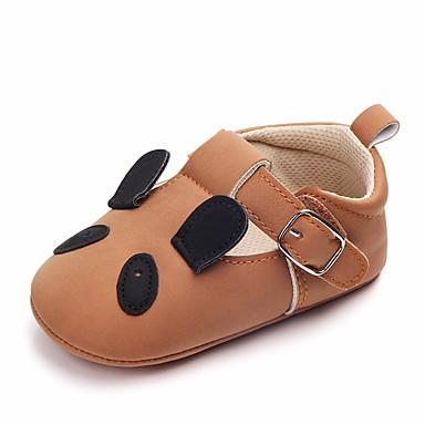 בנות נעליים דמוי עור אביב / סתיו נוחות / צעדים ראשונים / נעליים לעריסה שטוחות פפיון / סקוטש ל בז' / חום