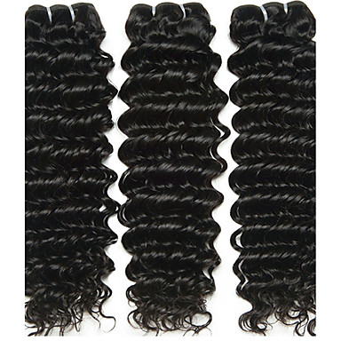 baratos Extensões de Cabelo Natural-3 pacotes Cabelo Brasileiro Onda Profunda 10A Cabelo Virgem Cabelo Humano Ondulado 8-28 polegada Tramas de cabelo humano Extensões de cabelo humano