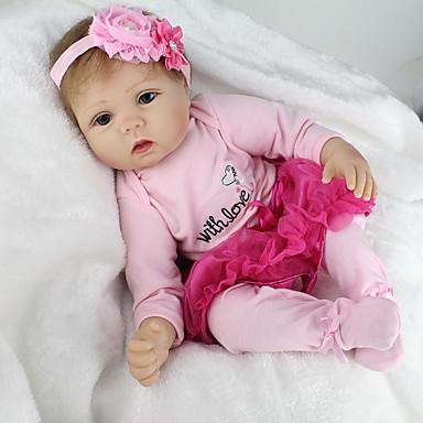 NPK DOLL בובה מחדש תינוקות בנות 22 אִינְטשׁ סיליקון / ויניל - כְּמוֹ בַּחַיִים, ריסים ידניים, ציפורניים אטומות וחותמות הילד של בנות מתנות / CE / עור טבעי / ראש דיסקט
