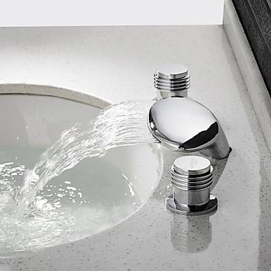 Moderna Conjunto Central Cascata Válvula Cerâmica Duas alças de três furos Cromado, Torneira pia do banheiro