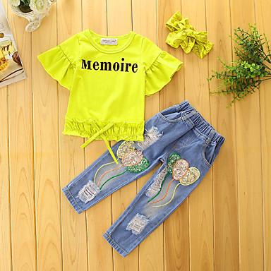 dc44939478662 Toddler Girls' Floral Dresswear Solid Colored Print Short Sleeve Regular  Regular Cotton Polyester Clothing Set Yellow