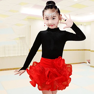 ריקוד לטיני תלבושות בנות הצגה ספנדקס סלסולים שרוול ארוך טבעי חצאיות עליון