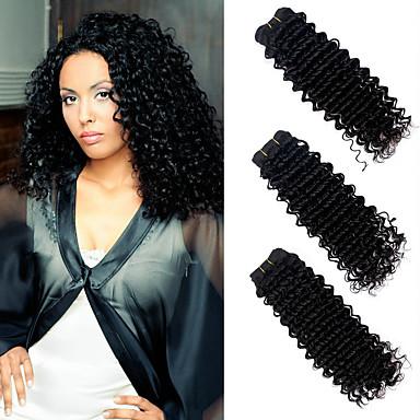 3 חבילות שיער ברזיאלי גל עמוק שיער אנושי טווה שיער אדם שוזרת שיער אנושי 8 א תוספות שיער אדם