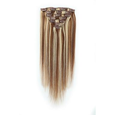 povoljno Perike i ekstenzije-S kopčom Proširenja ljudske kose 7pcs / pakiranje 70 g / paket Srednje smeđa / Strawberry Blonde Srednja Brown / Bleach Blonde Golden