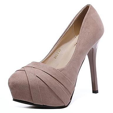 בגדי ריקוד נשים נעליים בד אביב נוחות עקבים עקב סטילטו בוהן עגולה שחור / ורוד