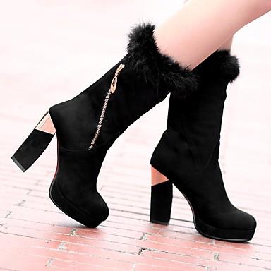 Hiver Bottes Chaussures Bottier Bottes Mode à rond Similicuir Mi Bout la Ruban 06580516 Rouge Talon mollet Bottes Noir Femme q4wtEE