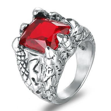 voordelige Herensieraden-Heren Statement Ring Synthetische Ruby Zwart Rood Blauw Titanium Staal Titanium Staal Vier punten Rock Modieus Bruiloft Maskerade Sieraden Gegraveerd nagebootst Cool