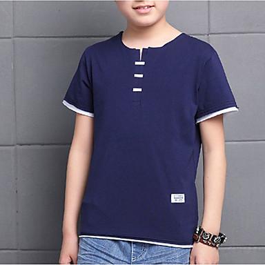Brzdąc Dla chłopców Aktywny Jendolity kolor Rozcięcie Rękaw 1/2 Bawełna T-shirt