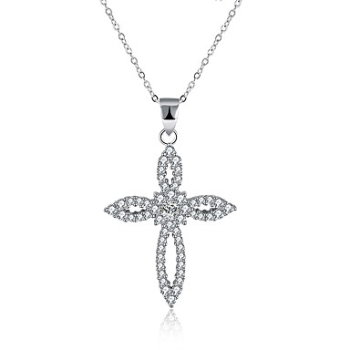 fc6ce8c9b134cb Women's Cubic Zirconia tiny diamond Pendant Necklace Cross Circle Cross  Ladies Fashion S925 Sterling Silver Silver Necklace Jewelry One-piece Suit  For Gift ...