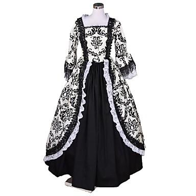 Rokoko / Wiktoriańskie Kostium Damskie Sukienka Czarny + biały Postarzane Cosplay Flokowane Rękaw 3/4 Pompiasty / Balonowy Kostiumy na Halloween / Kwiaty