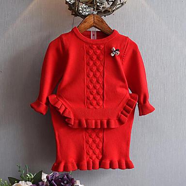 b3621a4584013 مجموعة ملابس كم طويل كشكش لون سادة   خملة الجاكوارد مناسب للخارج كاجوال    أناقة الشارع للفتيات طفل صغير