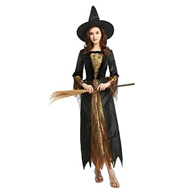 Czarownica Kostium Męskie Damskie Wszystko Halloween Halloween Karnawał Dzień Dziecka Festiwal/Święto Stroje Czarny Solidne kolory Halloween
