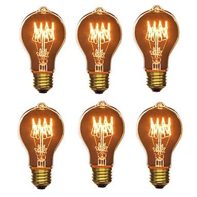 abordables Ampoules électriques-6pcs 40W E26/E27 A60(A19) Blanc Chaud 2200-2700 K Rétro Intensité Réglable Décorative Ampoule incandescente Edison Vintage 220-240V V