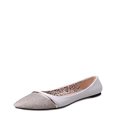 Női Cipő PU Nyár Kényelmes Lapos Gyalogló Alacsony Lábujj nélküli mert Arany / Fekete / Ezüst