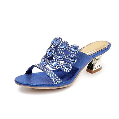 cheap Women's Sandals-Women's Polyurethane Spring / Summer Fashion Boots Sandals Chunky Heel Open Toe Rhinestone / Crystal / Sparkling Glitter Gold / Dark Blue / Green / Buckle / Party & Evening