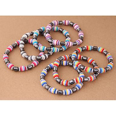 abordables Bracelet-Bracelet à Perles Femme Résine dames Ethnique Mode Coloré Bracelet Bijoux Vert Bleu Rose Forme de Tube pour Quotidien