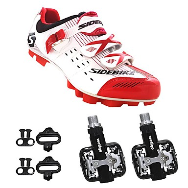 رخيصةأون أحذية ركوب الدراجة-SIDEBIKE للبالغين أحذية لركوب الدرجات مزودة ببدال وماسك Mountain Bike Shoes نايلون توسيد ركوب الدراجة أحمر وأبيض رجالي أحذية الدراجة / ستوكات صناعية PU