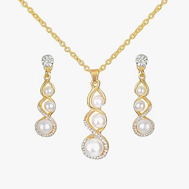 baratos Bijuteria de Mulher-Mulheres Conjunto de Jóias 3 pedra Cabaça senhoras Europeu Fashion Brincos Jóias Dourado Para Casual