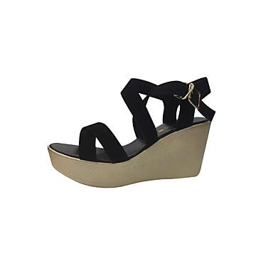 Mulheres Sapatos Couro Verão Conforto Sandálias Salto Plataforma Peep Toe para Casual Preto Vermelho