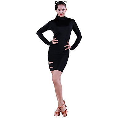 Taniec latynoamerykański Suknie Damskie Szkolenie Lodowy jedwab Materiały łączone Długi rękaw Naturalny Ubierać