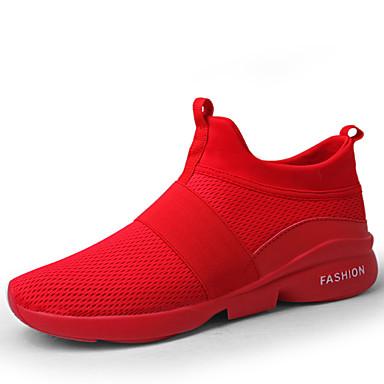 للرجال مجهرية ربيع / شتاء مريح أحذية رياضية المشي يمكن ارتداؤها أبيض / أسود / أحمر