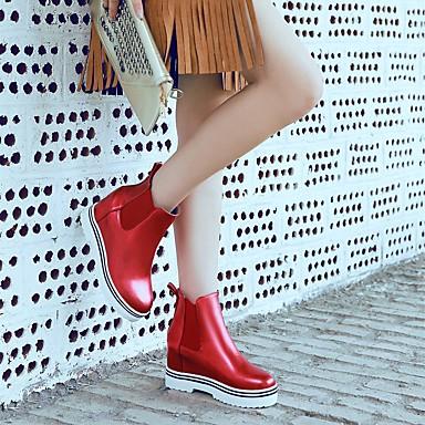 à Rose Bout la Botte Argent Mode Creepers Hiver Bottes rond Femme Chaussures Similicuir 06569891 Rouge Demi Bottine Bottes apqqUI