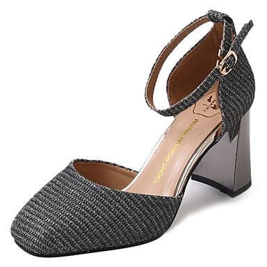 בגדי ריקוד נשים נעליים PU אביב / קיץ נוחות עקבים חסום את העקב בוהן מרובעת זהב / שחור / כסף