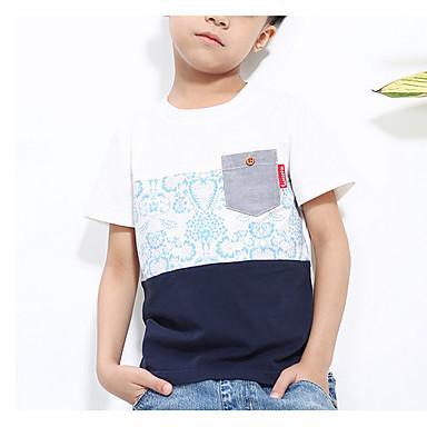 d293d2ebd0ee Kids Boys  Simple Daily Color Block Basic Short Sleeve Cotton Tee White