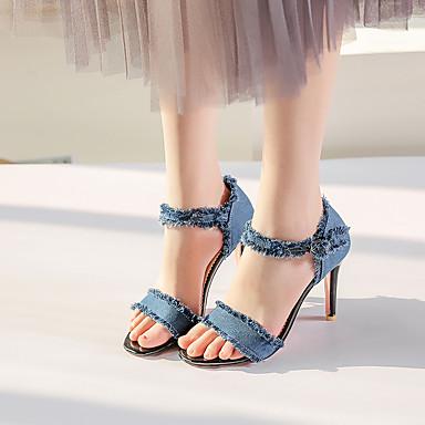 Eté ouvert Femme Aiguille minuit Talon Printemps Toile Bleu Bleu Sandales Escarpin 06590553 Chaussures Boucle Noir Basique Bout de jean de vXXg7q