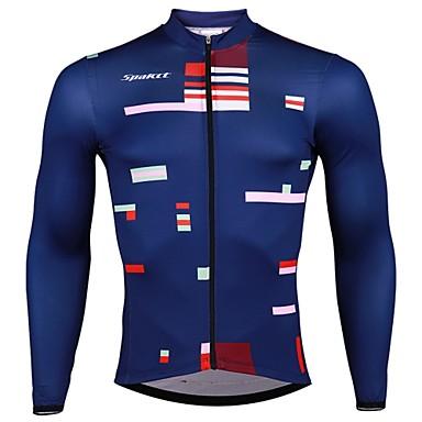 SPAKCT Męskie Długi rękaw Koszulka rowerowa - Ciemnoniebieski Pasek Rower Dżersej, Szybkie wysychanie Elastyna Poliester / Elastyczny / Zaawansowany / Expert / Zamek YKK