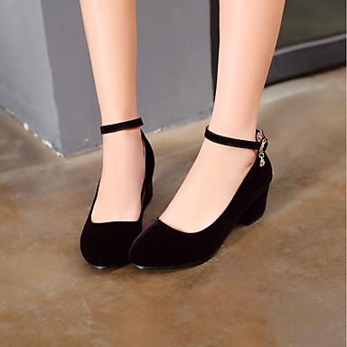 Bout à Basique Chaussures rond Rouge Printemps Boucle 06573562 Femme Escarpin Noir Similicuir Talon Bottier Eté Chaussures Talons qPw0S
