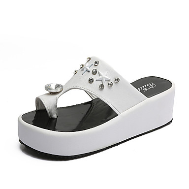 Women's Shoes Rubber Summer Comfort Sandals Walking Shoes Flat Heel White / Black