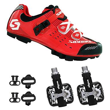 SIDEBIKE Erwachsene Fahrradschuhe mit Pedalen & Pedalplatten / Mountainbikeschuhe Karbon Polsterung Radsport Schwarz / rot Herrn