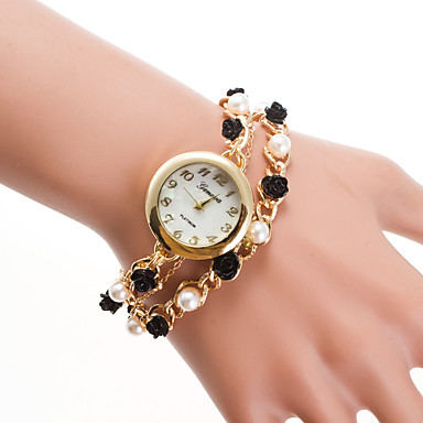 رخيصةأون ساعات النساء-نسائي ساعه اسورة كوارتز ذهبي ساعة كاجوال مماثل سيدات لؤلؤ موضة - ذهبي