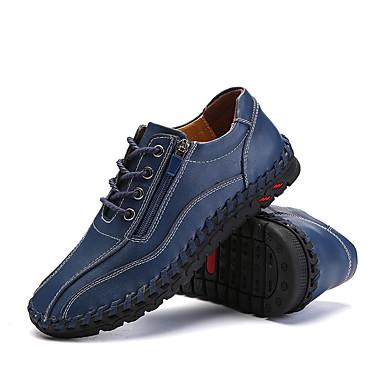 בגדי ריקוד גברים עור נאפה Leather / עור אביב נוחות נעלי אוקספורד רכיבת אופניים / הליכה כחול / חום בהיר / חום כהה