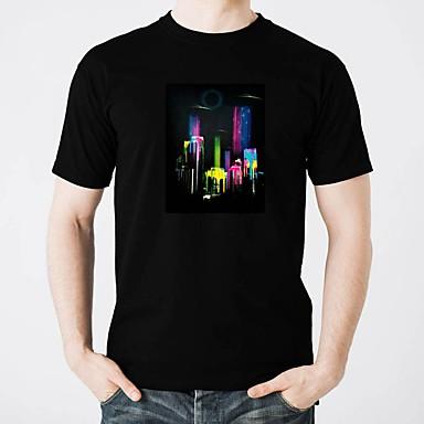 T-shirty LED Świecące w ciemności Czysta bawełna LED / Casual 2 akumulatory AAA