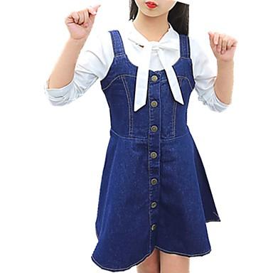 Dzieci Dla dziewczynek Codzienny Solidne kolory Ćwiek Bez rękawów Bawełna Sukienka Niebieski 140 / Śłodkie
