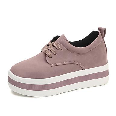 Damen Schuhe Vlies Frühling / Sommer / Herbst Komfort Sneakers Walking Keilabsatz Schwarz / Grau / Rosa