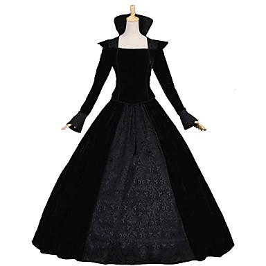 רוקוקו ויקטוריאני תחפושות בגדי ריקוד נשים תלבושות שחור וינטאג Cosplay פלומת אווז שרוול ארוך בלון\מנופח עד הריצפה ארוך נשף מידות גדולות מותאם אישית