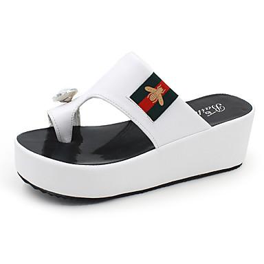 Mulheres Sandálias Anabela Couro Ecológico Primavera / Verão Sapatos clube Sandálias Salto Plataforma Dedo Aberto Combinação Branco / Preto