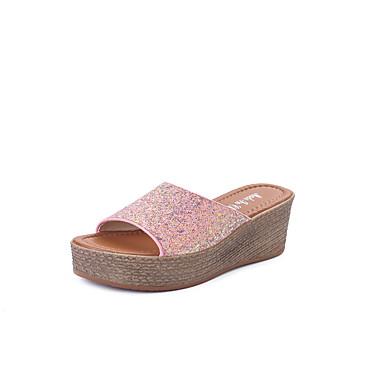 Mulheres Sapatos Couro Ecológico Verão Conforto Sandálias Salto Plataforma Branco / Preto / Rosa claro