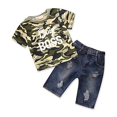 סט של בגדים כותנה פוליאסטר קיץ שרוולים קצרים יומי ליציאה גיאומטרי דפוס בנים פשוט יום יומי ירוק צבא