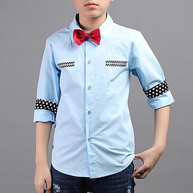 חולצה כותנה אביב סתיו שרוול ארוך יומי ליציאה טלאים בנים סגנון רחוב לבן כחול בהיר