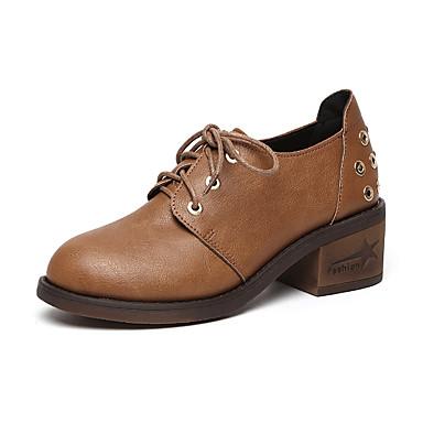 Mujer Zapatos PU Primavera / Verano Confort Oxfords Tacón Cuadrado Dedo redondo Beige / Gris / Marrón lq5pwstxxh