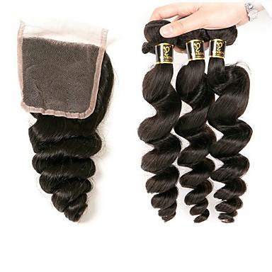 baratos Extensões de Cabelo Natural-3 pacotes com fechamento Cabelo Brasileiro Ondulado Ondulação Larga 10A Cabelo Humano 100% Remy Hair Weave Bundles Preta Côr Natural Tramas de cabelo humano Designers Venda imperdível Extensões de